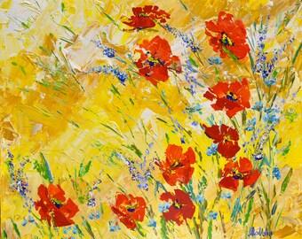Poppies , Original paint, Summer flowers, Wall paint, Art Decor, Art Gallery, 24 X 20 X 1 inch (60 X 50 X 2 cm )