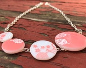 4 Circle Pyrex Jewelry Pink Gooseberry Necklace