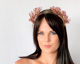 ARIANA   red & gold beaded crown - races, special events, royal ascot, derby day, mother of the bride, wedding