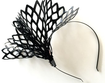RACHYRED: black faux leather lasercut crown / fascinator  - races, special events