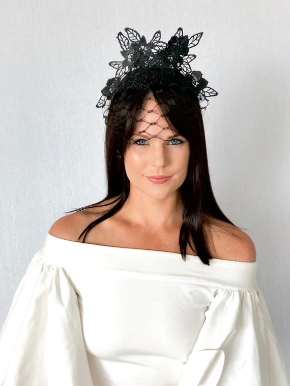 ABBY black lace crown   fascinator races special events  11e689337c0