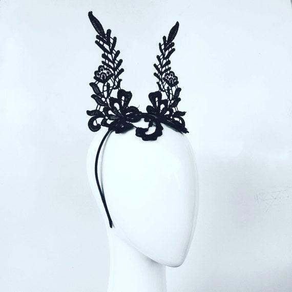 CLAIRE  black lace crown ears   fascinator  18fc15adb70