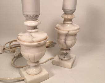Vintage pair table lamp Alabaster Italy