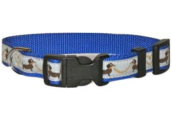 Dog Collar Dacshund / Bassotto / Saussage dog / Dackel /  ( Grey & blue  )