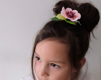 Red Flower Hair Clip - Flower Girl Hair Band - Flower Headband for Girls - Flower Hair Clip for Woman - Gift for Teen Girl
