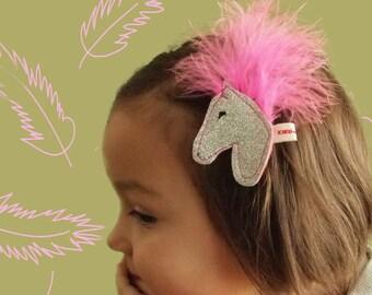 Pony Hair Clip - Horse Hair Clip - Circus Horse Hair Jewelry - Feather Hair Clip - Circus Pony - Equestrian Hair Accessory