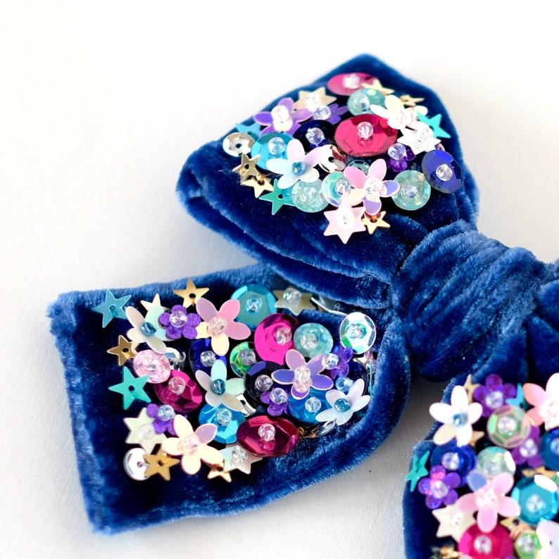 Velvet Hair Bow in Blue Baby Bow Headband Sequin Hair Bow Pigtail Bow Set