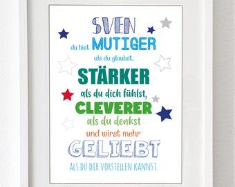 """Kinderzimmer-Kunstdruck - """"Etwas Mama, etwas Papa und ganz viel Wunder""""- als Druck oder Leinwand (ohne Rahmen)"""