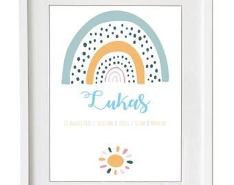 """Geburts-Grafik """"Regenbogen"""" mit Namen und Geburtsdaten - individuell als Druck oder Leinwand fürs Kinderzimmer"""