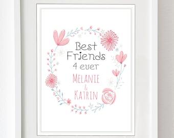 """Kunstdruck """"Best Friends for ever"""" - personalisierter Druck für die beste Freundin, als Dankeschön für eure Freundschaft"""