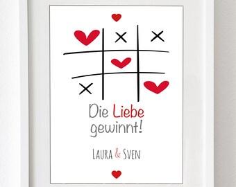 """Kunstdruck: """"Die Liebe gewinnt"""" - personalisierter Druck - für Deinen Partner, oder als Hochzeitsgeschenk, Druck (ohne Rahmen) oder Leinwand"""