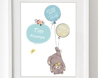 """Kunstdruck mit allen Baby-Daten für das Kinderzimmer """"Bär mit Luftballons"""" - individuell gestaltet, Druck o. Leinwand fürs Kinderzimmer"""