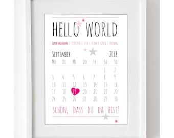 """Personalisierter Baby Kunstdruck """"""""Hello World"""" personalisiert mit allen Geburtsdaten und einem Kalenderblatt  - als Druck oder Leinwand"""