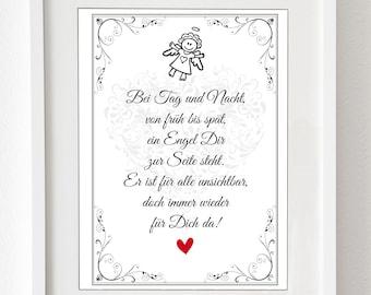 """Kunstdruck -  """"Schutzengel"""" für das Kinderzimmer, als Geschenk für die beste Freundin oder Freund oder als Statement"""