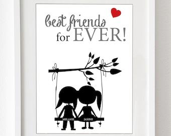 """Kunstdruck: """"Best friends for ever"""" - personalisierter Druck - für Deine beste Freundin als Druck oder Leinwand"""