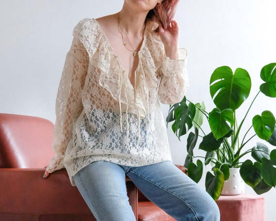 Vintage lace see through top frill collared poet … - image 2