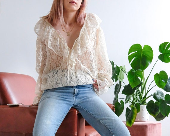 Vintage lace see through top frill collared poet … - image 3