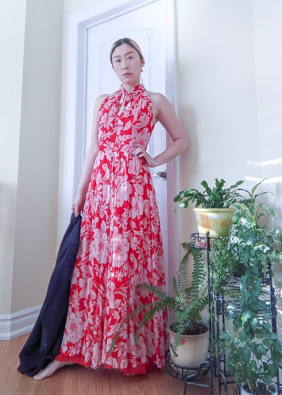 Vintage 1970s Red Floral Maxi