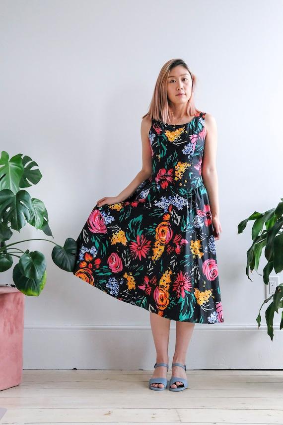 Vintage 1980s A line floral dress