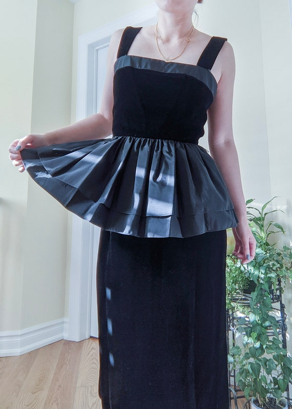 Vintage velvet peplum little black dress