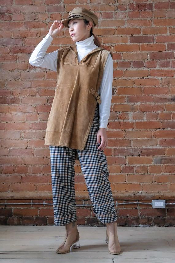 Vintage 1970s suede hooded buckle vest