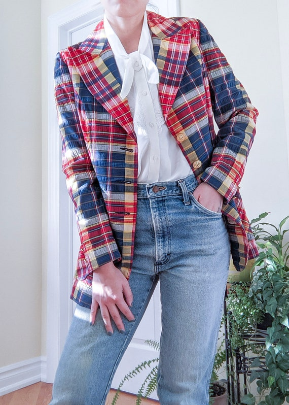 Vintage 1970s union made plaid blazer gold buttons