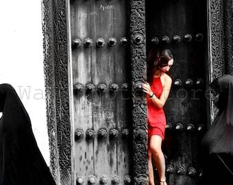 Zanzibar Black Wooden Carved Door, Door Photography, Old New, Zanzibar Print Art, Zanzibar Door Pictures, Zanzibar Wall Print Art, Tanzania