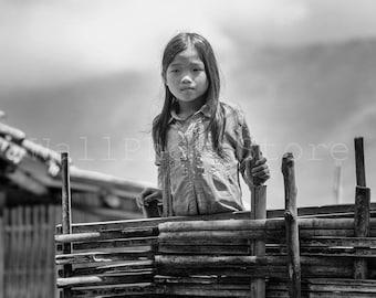 Vietnamese Village Girl, Black and White Asian Photography Print, Asian Girl Photo, Vietnam Wall Art, Vietnam Photography, Vietnam Art Print