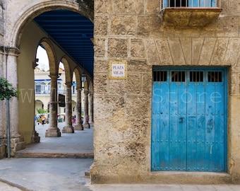 Cuba Door Photography, Blue Wooden Door in Old Havana Print, Door Wall Art, Cuba Photos, Cuba Print Art, Door Print Art, Cuba Wall Decor