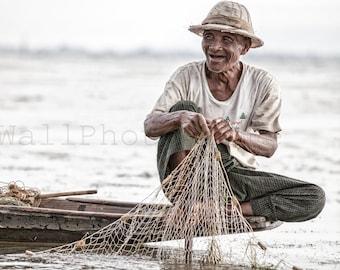 Happy Fisherman, Fishing Boat, Fishing Net, Myanmar Print Art, Fisherman Gift, Asian Wall Art, Fine Art Photography Print, Fisherman Poster