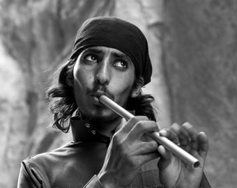 Black and White, Bedouin Guy with Pipe, Jordan Photography, Fifer, Music Poster, Musician Photography Print, Flute Player, Vertical Wall Art