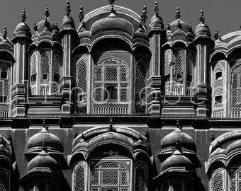 Black and White Photo of Hawa Mahal in Jaipur, Indian Wall Art, Hawa Mahal Print, India Print Art, Hawa Mahal  Poster, India photography