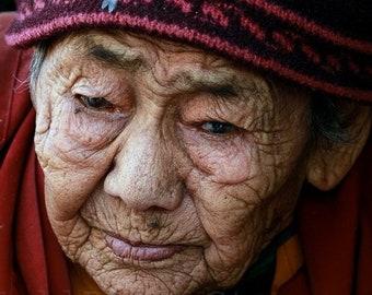 Nepal Photography, Old Woman at Boudhanath Stupa in Kathmandu, Woman Portrait, Nepal Wall Art Print, Woman Poster, Vertical Wall Art