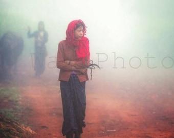 Myanmar Photography, Young Girl on Way to Work, Travel Photography, People Photography, Asian Women, Fine Art Photography, Wall Art Print
