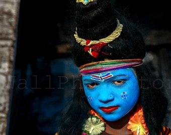 Lord Shiva Face Painting, Shiva Print Art, Shiva Wall Art, India Photography, Shiva Images, India Print Art, Blue Shiva Painting