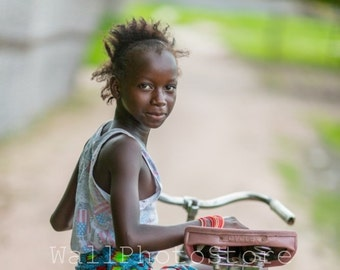 African Photography, Senegalese Girl with Bike, Senegal Photography, African Poster, African Girl, Vertical Art Print, Vertical Wall Art