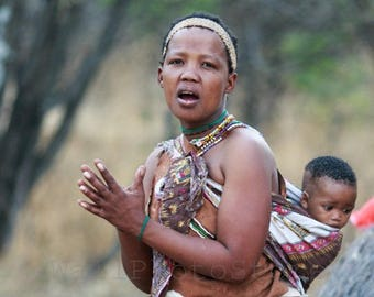 African People Photography, Bushman Woman with Kid, Botswana Photos, African Art Print, Fine Art Photography Print, Vertical Wall Art Print