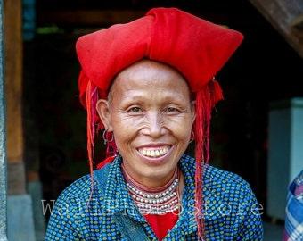 Vietnamese Art, Red Dao Woman in Red Kerchief, Woman Portrait, Travel Photography, Vietnam  Poster, Vertical Wall Art Print, Smiling Woman