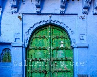 Old Green Wood Door in Blue City of Jodhpur, Rajasthan, Blue Print Wall Art, Door Photography, India Photography, India Print Art, Vertical