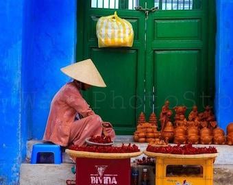 Vietnam Photography, Street Souvenir Seller, Vietnamese Woman, Vietnam Art Print, Fine Art Photography Print, Vietnam Wall Art, Green, Blue