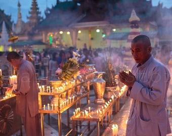 Lighting Festival of Myanmar, Buddhist Monks, Thadingyut Festival of Lights, Myanmar Fine Art Photography, Thai Art, Large Wall Art, Poster