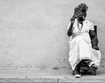Black and White Cuba Photography, Cuban Lady with Cigar, Havana Photography, Cigar Art, Cigar Photography, Cigar Wall Art, Smoker, Cafe shop