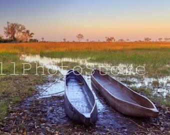 Mokoro Boats on Sunrise, Botswana Photography, Boat Photos, African Photography, Wall Print Art, Fine Art Photography Print, Boats Poster