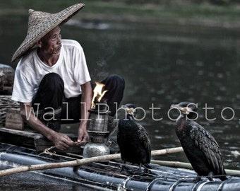 Fisherman Photography, Chinese Fisherman with Cormorants, Li River, Yangshuo, China Photography. Asia Photography Print, Wall Art Print