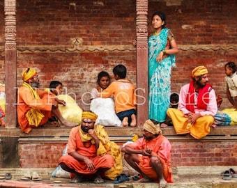 Nepal Photography, Pilgrims in  Kathmandu, Nepal Photos, Fine Art Photography Print, People Photography, Nepal Poster, Nepal Wall Art Print