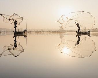 Cast Wide Net Fishing Art, Fisherman Photo, Fishing Wall Art, Myanmar Art Print, Burma Pictures, Mandalay Boats Fishing, Fisherman Poster