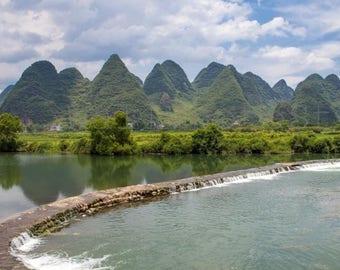 China Landscape Photography, Li River, Yangshuo Limestone Mountains, Asia photography, China Print Art, China Poster, Nature Landscape