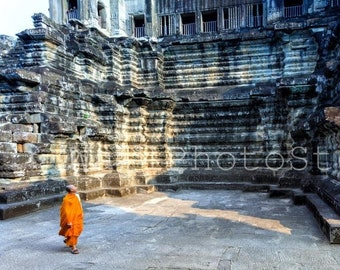Buddhist Monk in Angkor Wat Temple, Cambodia Photography, Monks Poster, Cambodia Print Art, Asia Art, Fine Art Print, Monk Wall Art Print