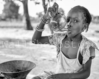 African Black and White Photography, African Girl Drinking Tea, Senegal Photos, Senegalese Girl, Travel Photography, African Wall Art Print