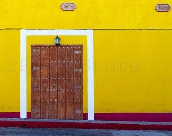 Colorful Cuba Door Photography, Wooden Carved Door, Rustic Door Photography, Cuban Door Wall Art, Door Print, Yellow Wall Art, Cuba Art